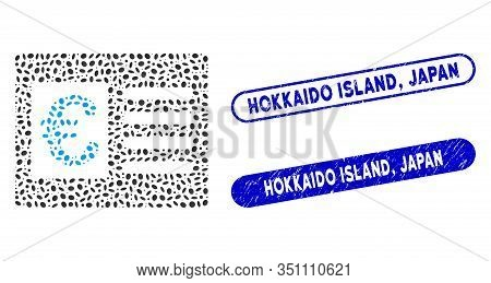 Mosaic Euro Bank Account And Rubber Stamp Seals With Hokkaido Island, Japan Text. Mosaic Vector Euro