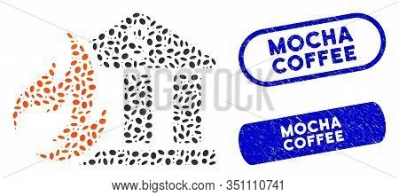 Mosaic Bank Fire Disaster And Grunge Stamp Seals With Mocha Coffee Caption. Mosaic Vector Bank Fire