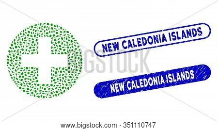 Mosaic Create And Rubber Stamp Watermarks With New Caledonia Islands Text. Mosaic Vector Create Is F