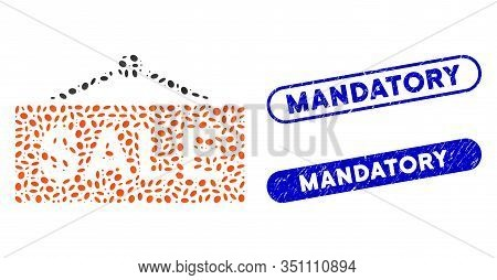 Mosaic Sale Nameplate And Distressed Stamp Seals With Mandatory Phrase. Mosaic Vector Sale Nameplate