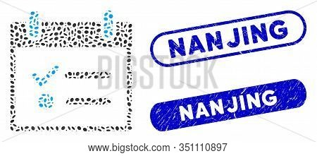 Mosaic Todo List Calendar Day And Grunge Stamp Seals With Nanjing Caption. Mosaic Vector Todo List C