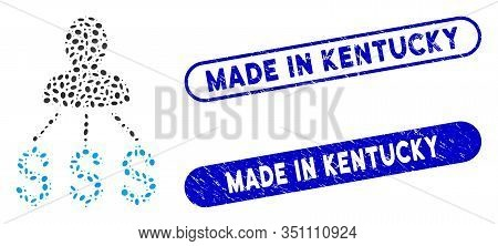 Mosaic Person Expenses And Distressed Stamp Watermarks With Made In Kentucky Phrase. Mosaic Vector P