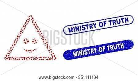 Collage Smile Warning And Rubber Stamp Seals With Ministry Of Truth Text. Mosaic Vector Smile Warnin