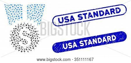 Mosaic Financial Medal And Distressed Stamp Seals With Usa Standard Text. Mosaic Vector Financial Me