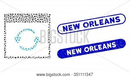 Collage Update Calendar Page And Rubber Stamp Seals With New Orleans Text. Mosaic Vector Update Cale