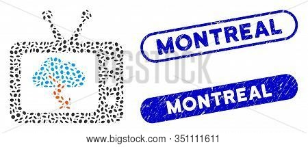 Mosaic Storm Tv Forecast And Grunge Stamp Seals With Montreal Text. Mosaic Vector Storm Tv Forecast