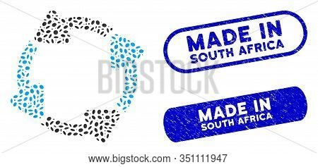 Mosaic Rotate Cw And Grunge Stamp Seals With Made In South Africa Phrase. Mosaic Vector Rotate Cw Is