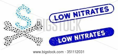 Mosaic Mortal Debt And Distressed Stamp Seals With Low Nitrates Phrase. Mosaic Vector Mortal Debt Is