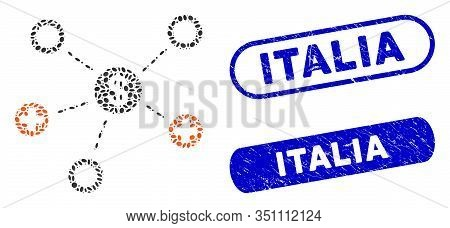 Collage Financial Medical Relations And Corroded Stamp Seals With Italia Phrase. Mosaic Vector Finan