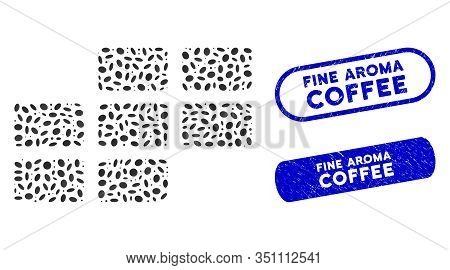 Mosaic Calendar Grid And Corroded Stamp Seals With Fine Aroma Coffee Text. Mosaic Vector Calendar Gr