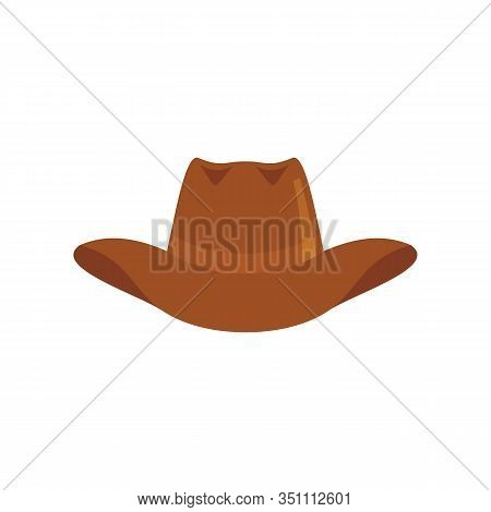 Cowboy Hat Flat Icon. Vector Cowboy Hat In Flat Style Isolated On White Background. Element For Web,
