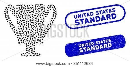 Mosaic Award Cup And Rubber Stamp Seals With United States Standard Text. Mosaic Vector Award Cup Is