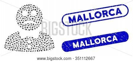 Mosaic Sad Boy And Rubber Stamp Seals With Mallorca Phrase. Mosaic Vector Sad Boy Is Formed With Ran