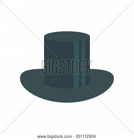 Cylinder Hat Flat Icon. Vector Cylinder Hat In Flat Style Isolated On White Background. Element For