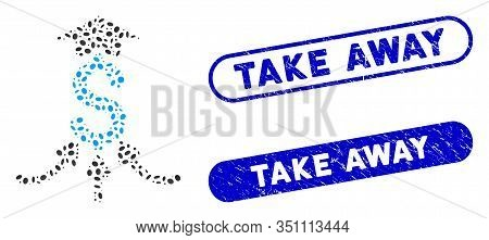 Mosaic Financial Aggregator And Corroded Stamp Seals With Take Away Caption. Mosaic Vector Financial
