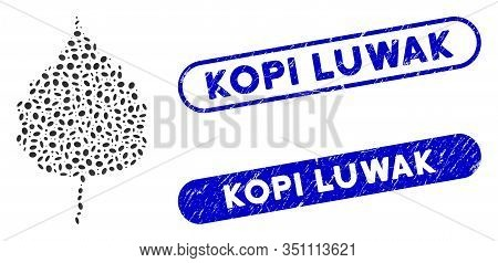 Mosaic Birch Leaf And Corroded Stamp Seals With Kopi Luwak Text. Mosaic Vector Birch Leaf Is Compose