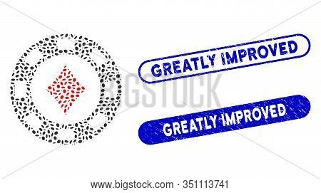 Mosaic Diamonds Casino Chip And Rubber Stamp Seals With Greatly Improved Phrase. Mosaic Vector Diamo