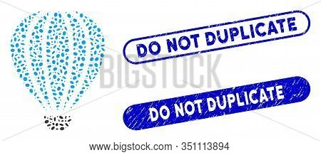 Mosaic Aerostat And Distressed Stamp Seals With Do Not Duplicate Text. Mosaic Vector Aerostat Is Des