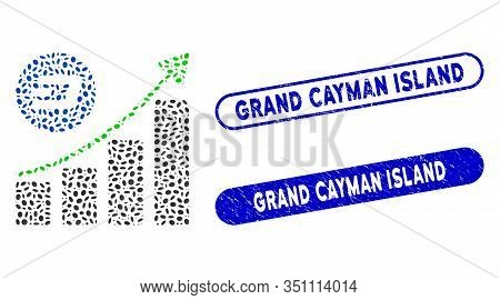 Collage Dash Growing Trend And Distressed Stamp Seals With Grand Cayman Island Caption. Mosaic Vecto