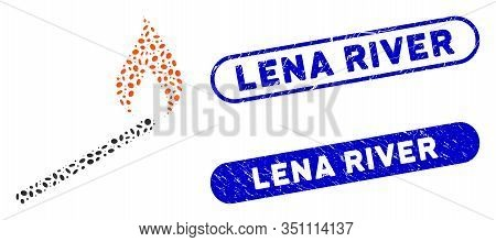 Mosaic Match Ignition And Rubber Stamp Seals With Lena River Phrase. Mosaic Vector Match Ignition Is