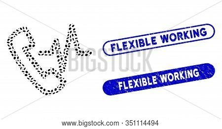 Mosaic Call And Distressed Stamp Watermarks With Flexible Working Caption. Mosaic Vector Call Is For