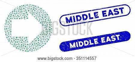 Mosaic Forward And Rubber Stamp Seals With Middle East Caption. Mosaic Vector Forward Is Created Wit