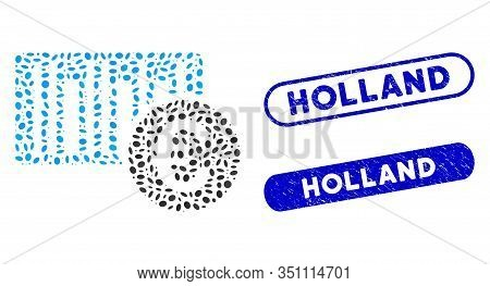 Mosaic Euro Bar Code Price And Corroded Stamp Watermarks With Holland Text. Mosaic Vector Euro Bar C