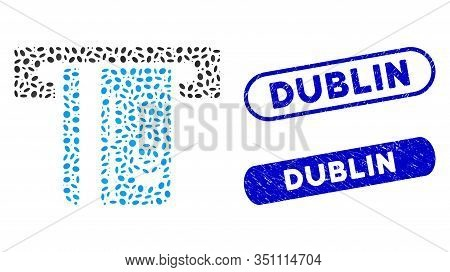 Mosaic Atm Terminal And Distressed Stamp Seals With Dublin Text. Mosaic Vector Atm Terminal Is Forme