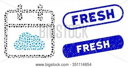 Mosaic Cloudy Day And Rubber Stamp Seals With Fresh Text. Mosaic Vector Cloudy Day Is Composed With