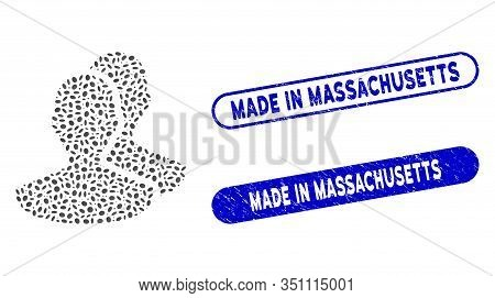 Mosaic Persons And Corroded Stamp Seals With Made In Massachusetts Text. Mosaic Vector Persons Is Fo