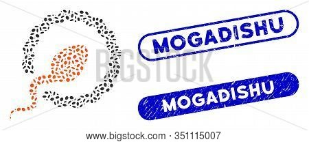 Mosaic Sperm Penetration And Rubber Stamp Watermarks With Mogadishu Phrase. Mosaic Vector Sperm Pene