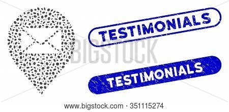 Mosaic Mail Letter Marker And Corroded Stamp Seals With Testimonials Text. Mosaic Vector Mail Letter