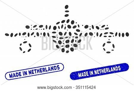 Mosaic Plane And Distressed Stamp Seals With Made In Netherlands Text. Mosaic Vector Plane Is Compos