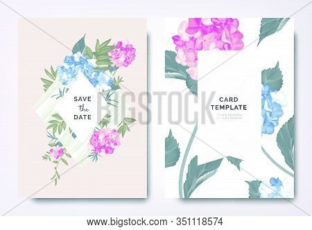 Botanical Wedding Invitation Card Template Design, Blue And Pink Hydrangea Flowers And Leaves On Gre