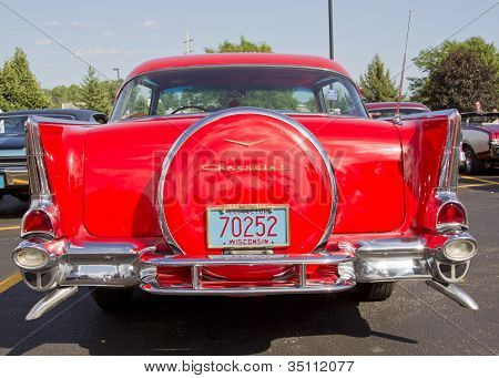 Two Door 57 Chevy Red Back View