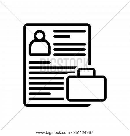 Black Line Icon For Portfolio Resume Summary Reoccupy Detail Expansion Elaboration Document Photo  P