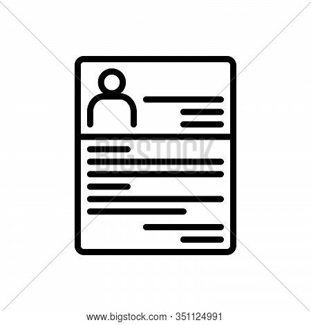 Black Line Icon For Resume Summary Reoccupy Detail Expansion Elaboration Document Profile Recruitmen