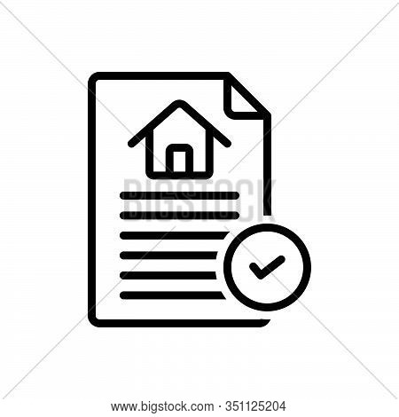 Black Line Icon For Contract Agreement Bond Appendage Guarantee Pledge Contracting  Paperwork Invoic
