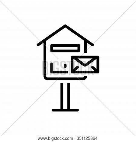 Black Line Icon For Inbox Mail-box Mail Box Pobox Letterbox Communicate  Message Telegram Postage Re