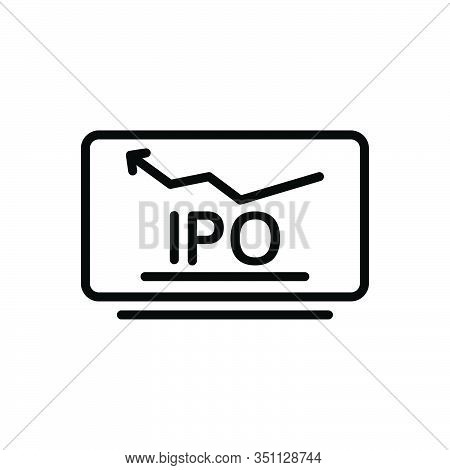 Black Line Icon For Initial-public-offer Initial Public Offer Market Stock Exchange Analysis Statist