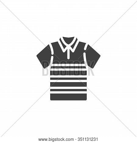 Polo T-shirt With Stripes Vector Icon. Filled Flat Sign For Mobile Concept And Web Design. Short Sle