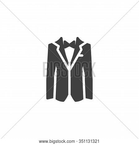 Mens Tuxedo Jacket With Bow Tie Vector Icon. Filled Flat Sign For Mobile Concept And Web Design. Wed