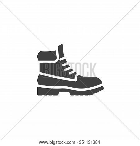 Hiking Boot Vector Icon. Filled Flat Sign For Mobile Concept And Web Design. Mens Boots Shoe Glyph I
