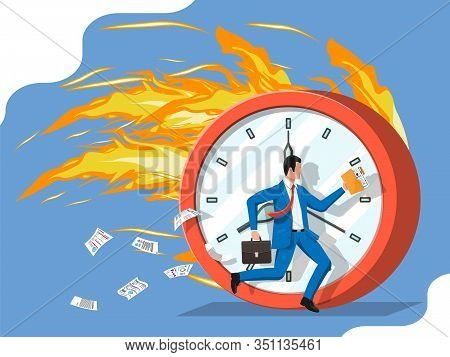 Big Burning Clock And Businessman Is Fast Running With Waving Necktie And Briefcase. Business Man Ru