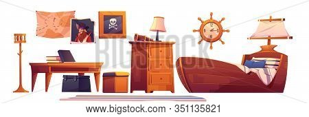 Pirate Baby Room Interior Set, Thematic Furniture And Accessories Ship Bed With Sail, Steering Wheel