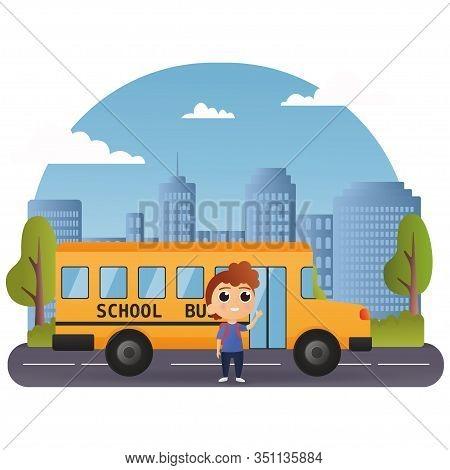 School Bus And Happy Children. Vector Illustration Of School Theme. Vector Of Little Boy Standing Ne