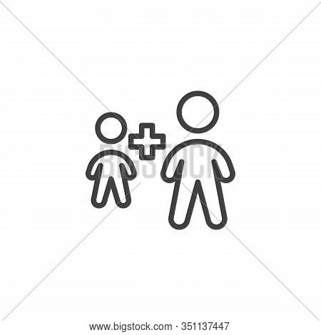 Employee Plus Line Icon. Two People Plus Linear Style Sign For Mobile Concept And Web Design. Human