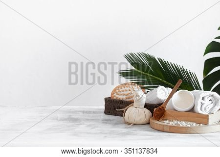 Spa Composition With Care Items On A Light Background
