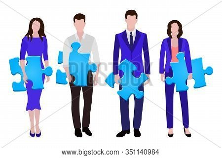 Business People Group Human Resources Flat Vector Illustration. Company Staff Business Team. Group O
