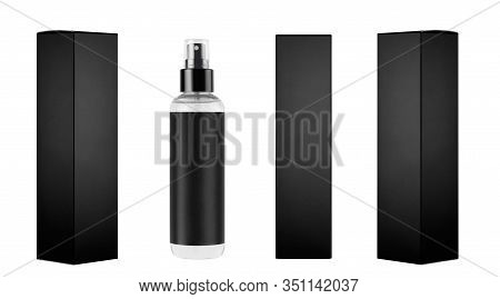Mock Up For Design Of Packing Cosmetics Product - Tall Transparent Spray Bottle, Black Label And Bla